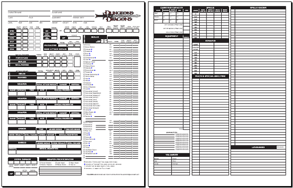 graphic regarding Printable Dungeons and Dragons Character Sheet identified as Blackmoors DD 3.0 Identity Sheet (classic 1.05)