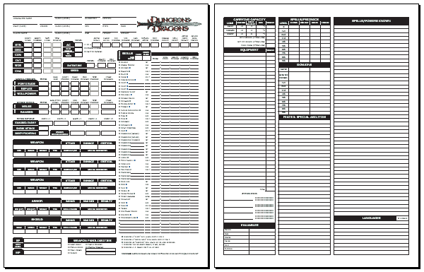 image relating to Printable Dungeons and Dragons Character Sheet called Blackmoors DD 3.0 Individuality Sheet (common 1.05)